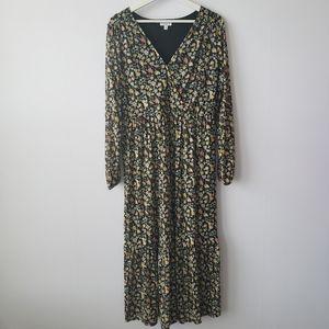 Avln studio floral maxi long sleeve dress